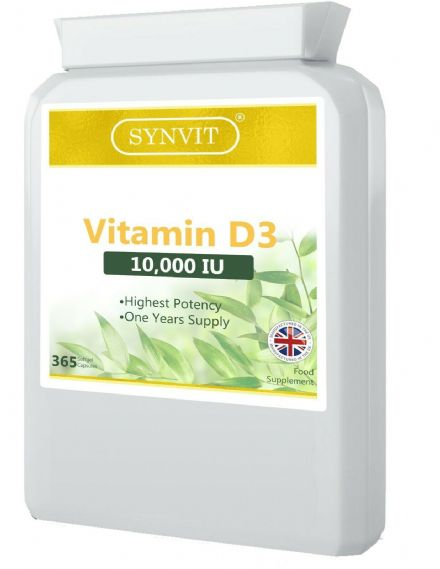 Vitamin D3 10,000iu x 365 Softgels; 1 Year Supply, Highest Potency; Synvit